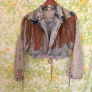 Vintage Cropped Denim Jacket w/ Sued Fringe